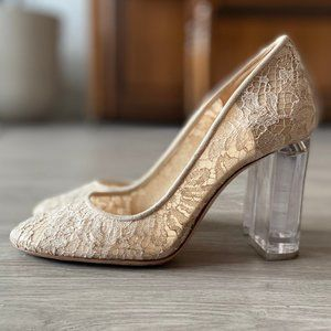 M. Gemi cream lace pumps with lucite block heel